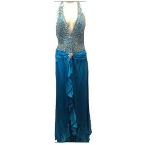 Jovani Blue Silver Beaded Halter Gown Dress Size 6